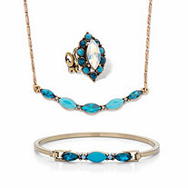"Marquise-Cut Blue Crystal and Simulated Turquoise Goldtone Set BONUS BUY: Buy the Set, Get the Adjustable Ring FREE! 17""-19"""
