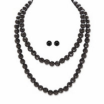 """Round Beaded Simulated Black Onyx 2-Piece Necklace and Stud Earring Set in Black Ruthenium-Plated and Silvertone 36"""""""