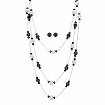 Round Simulated Black Onyx and Pearl Silvertone 2-Piece Multi-Strand Necklace and Stud Earring Set 70""