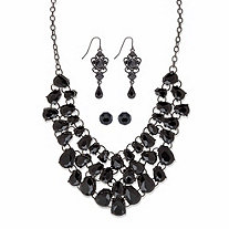 """Simulated Black Onyx Silvertone and Black Ruthenium-Plated Necklace Set BONUS BUY: Buy the Set and Get the Drop Earrings FREE! 18""""-21"""""""