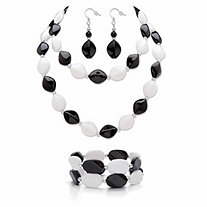 Black and White Beaded Lucite Silvertone 4-Piece Necklace, Stretch Bracelet and Drop Earring Set 29""