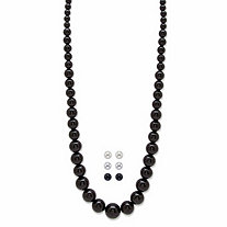 Graduated Simulated Black Onyx, Pearl and Silvertone 4-Piece Necklace and Ball Stud Earring Set 29""