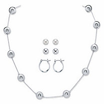 "Beaded Station Necklace 18"" - 21"" BONUS BUY: Buy the Necklace, Get the 3-Pair Set of Stud and Hoop Earrings FREE! 3/4"""