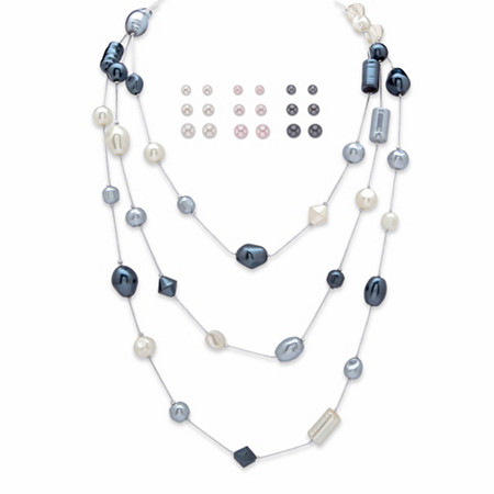 "Grey, Pink and Cream Simulated Pearl Triple-Strand Necklace In Silvertone 60"" BONUS: Buy the Necklace, Get the Stud Earring Set FREE! at PalmBeach Jewelry"