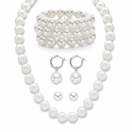 """Simulated Pearl Silvertone Necklace, Bracelet and Earring Set 17""""-20"""" BONUS: Buy the set, get the matching drop earrings FREE! at PalmBeach Jewelry"""
