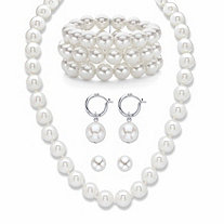 "Simulated Pearl Silvertone Necklace, Bracelet and Earring Set 17""-20"" BONUS: Buy the set, get the matching drop earrings FREE!"