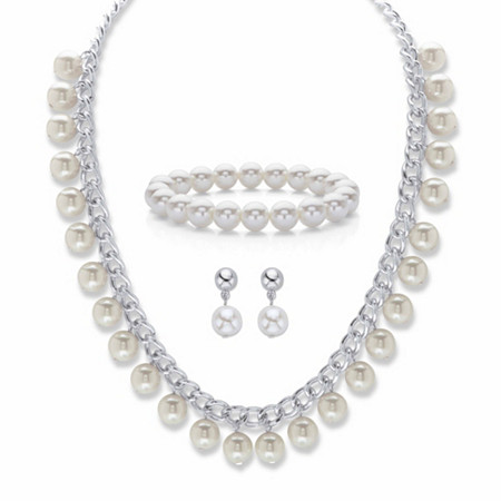 "Round Cream Simulated Pearl 3-Piece Curb-Link Necklace, Stretch Bracelet and Drop Earring Set in Silvertone 18""-21"" at PalmBeach Jewelry"