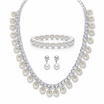 "Round Cream Simulated Pearl 3-Piece Curb-Link Necklace, Stretch Bracelet and Drop Earring Set in Silvertone 18""-21"""