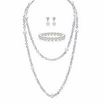 "Cream Simulated Pearl Double-Strand Necklace, Stretch Bracelet and Drop Earring Set in Silvertone 48"" (10mm)"