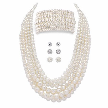 Graduated Simulated Pearl 8-Piece Multi-Strand Necklace and Bracelet Set BONUS BUY: Buy the Set, Get the 3-Pair Stud Earring Set FREE! at PalmBeach Jewelry