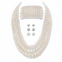 Graduated Simulated Pearl 8-Piece Multi-Strand Necklace and Bracelet Set BONUS BUY: Buy the Set, Get the 3-Pair Stud Earring Set FREE!