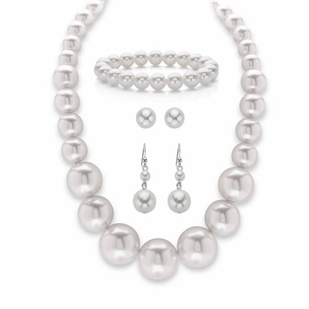 """Cream Simulated Pearl 3-Piece Necklace, Stretch Bracelet and Stud Earring Set in Silvertone 18"""" at PalmBeach Jewelry"""
