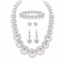 Cream Simulated Pearl 3-Piece Necklace, Stretch Bracelet and Stud Earring Set in Silvertone 18""
