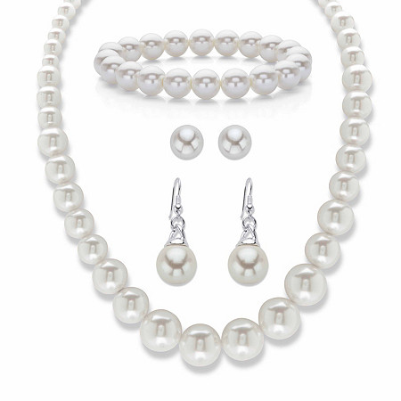 """Simulated Pearl 3-Piece Graduated Necklace, Stretch Bracelet and Stud Earring Set 16""""-19"""" BONUS: Buy the Set, Get the Drop Earrings FREE! at PalmBeach Jewelry"""