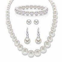 "Simulated Pearl 3-Piece Graduated Necklace, Stretch Bracelet and Stud Earring Set 18""-21"" BONUS: Buy the Set, Get the Drop Earrings FREE!"