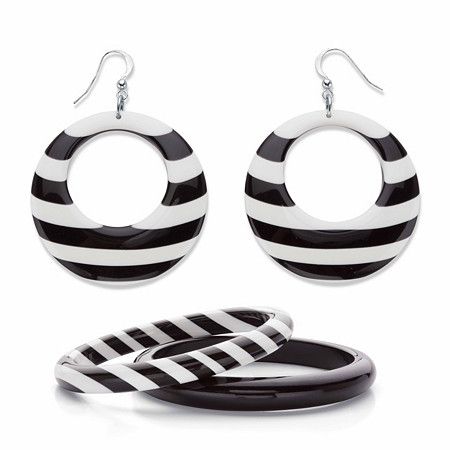 "Black and White Striped Lucite Silvertone 3-Piece Circle Hoop and Bangle Bracelet Set 7.5"" at PalmBeach Jewelry"