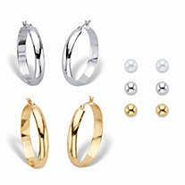 Polished Hoop Earring Set BONUS BUY: Buy the Hoop Set, Get the Stud Earring Set FREE! Simulated Pearl, Goldtone and Silvertone 10mm