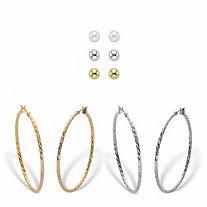 """Banded Gold Tone and Silvertone 2-Pair Hoop Earring Set 2"""" BONUS! Buy the Hoop Earring Set and Get the 3-Pair Stud Earring Set FREE!"""