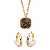 "Simulated Smoky Druzy Quartz and Brown Crystal Goldtone 2-Piece Octagon Necklace and Hoop Earring Set 18""-20"""