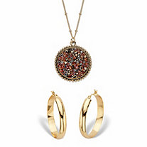 "Simulated Smoky Druzy Quartz and Brown Crystal Goldtone 2-Piece Round Necklace and Hoop Earring Set 18""-20"""