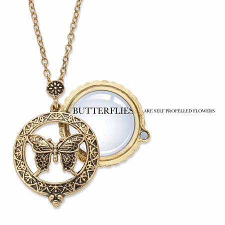 "Butterfly Magnifying Glass Medallion Pendant Necklace in Antiqued Gold Tone 24"" at PalmBeach Jewelry"