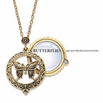 Butterfly Magnifying Glass Medallion Pendant Necklace in Antiqued Gold Tone 24