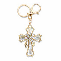 Round Crystal Goldtone Shrouded Openwork Cross Key Ring 5 1/3""