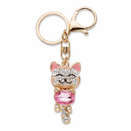 "Oval-Cut Pink and White Crystal and Enamel Cat Key Ring in Goldtone 4 1/3"" at PalmBeach Jewelry"