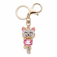 Oval-Cut Pink And White Crystal And Enamel Cat Key Ring