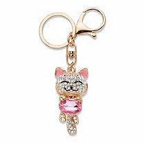 Oval-Cut Pink and White Crystal and Enamel Goldtone Cat Key Ring 41/3""