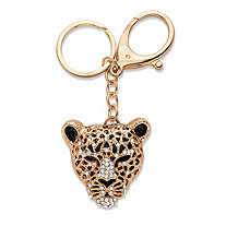 Round Crystal Black Leopard Cat Key Ring in Goldtone 4 3/4