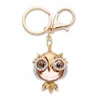 Peach, Black And White Crystal Owl Key Ring