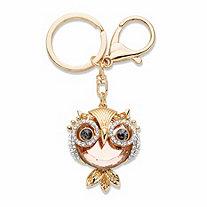 Peach, Black and White Crystal Owl Key Ring in Goldtone 4 1/3