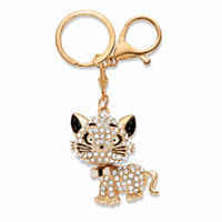 Round Crystal Cat Key Ring