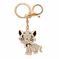 Round Crystal Cat Key Ring in Goldtone 4 1/3""