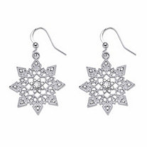 SETA JEWELRY Round Crystal Holiday Snowflake Drop Earrings in Silvertone 1.5