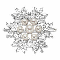 Round Cream Simulated Pearl and Baguette-Cut Crystal Snowflake Pin in Silvertone 2