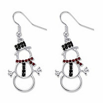 Red and Black Crystal Accent Silvertone Holiday Cutout Snowman Drop Earrings 1.5""