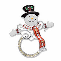 Red and White Crystal and Enamel Holiday Frosty the Snowman Pin in Silvertone 2.5