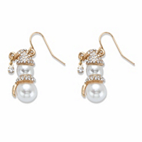 Round White Simulated Pearl And Crystal Accent Goldtone Holiday Snowman Drop Earrings