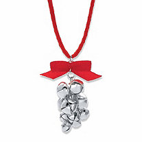 SETA JEWELRY Jingle Bell Holiday Red Corded Necklace in Silvertone 28