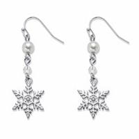 Simulated Pearl Holiday Snowflake Drop Earrings