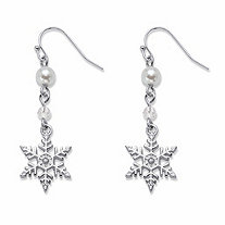 Simulated Pearl Holiday Snowflake Drop Earrings in Silvertone 15/8
