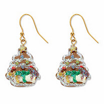 "Red, White and Green Enamel Goldtone Holiday Christmas Tree ""Cookie"" Drop Earrings 11/3"""