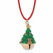 Green Enamel Christmas Tree Jingle Bell Red Corded Holiday Necklace in Goldtone 26