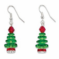 Red and Green Crystal Christmas Tree Holiday Earrings in SIlvertone 11/8""