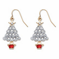 Red and White Crystal Accent Goldtone Openwork Christmas Tree Holiday Drop Earrings 11/8""