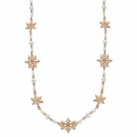 Simulated Cream Pearl And Crystal Goldtone Holiday Snowflake Station Necklace