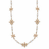 "Simulated Cream Pearl and Crystal Goldtone Holiday Snowflake Station Necklace 28""-31"""