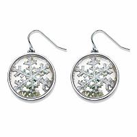 Round Crystal Holiday Snowflake Drop Earrings